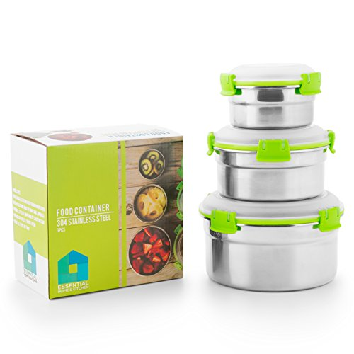 Stainless Food Containers Eco Stainless Steel Bento Box Set Food Storage Containers for Lunch Boxes - Metal Food Containers with Lids for Adults & Kids - 3 Pack Bento Box Lunch Box Set