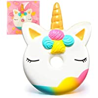 Munchkin Land Slow Rising Squishy Toys Cute Squishies Squeeze Stress Reliever for Girls / Kids / Adults Unicorn Donut Jumbo Squishy Toy