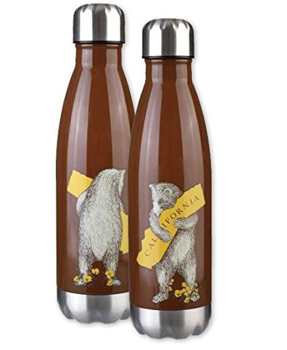 I Love California Bear Hug Stainless Steel Water Bottle Set of Two- Antique White and Brown