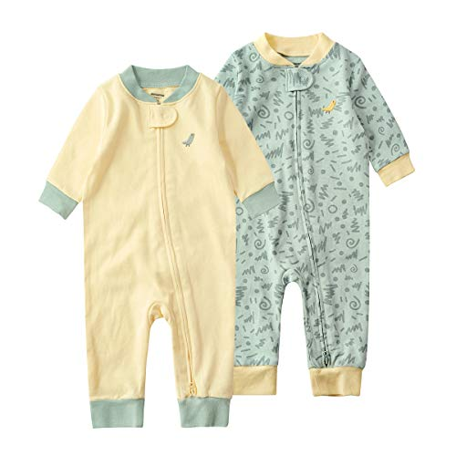 SYCLZ Baby 2-Pack 100% Cotton Romper Jumpsuits Two Way Zipper Long Sleeve Footless Sleep and Play (0-2T) (3-6M, Yellow+Pea Green)