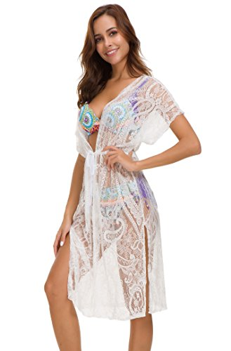 918cbda932 Costyleen Summer Womens Beach Wear Cover up Swimwear Bikini Lace Floral  Long Maxi Beach Dress