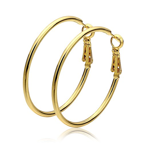 Cos2be Fashion Stainless Steel Hoop Earrings, Gold Plated Rose Gold Plated Silver Plated Endless Round Earrings Hoop for Women and Girls Sensitive Ears 40mm (Yellow gold tone) ()