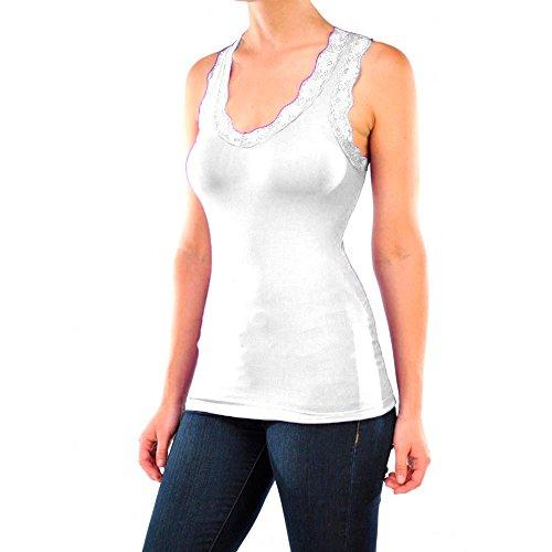 Atb Trim - Seamless Stretch Sexy Lace Trim Racerback Basic Tank Top Camisole Cami White