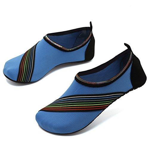VIFUUR Wassersport Schuhe Barfuß Quick-Dry Aqua Yoga Socken Slip-On für Männer Frauen Kinder Xidaiblue