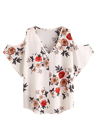 Romwe Womens Summer Casual Cold Shoulder Floral Print Short Sleeve Blouse Top Beige M