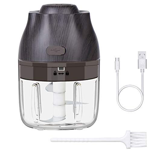 Electric Mini Garlic Chopper 250ML,Cordless Food Chopper with USB Charging 3 Blades, Portable Small Food Masher Slicer for Vegetable,Pepper,Oinion,Ginger,Meat, Pumpkin,Chili,Nuts and Baby Food make