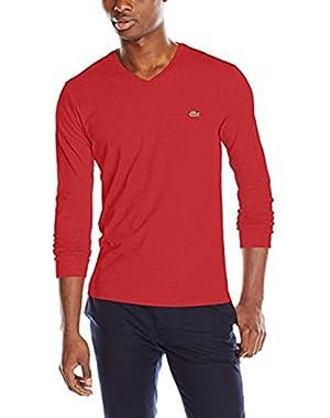 Men's Long Sleeve Jersey Pima Regular Fit V Neck T-Shirt