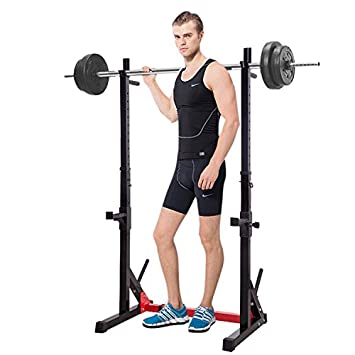 Ollieroo Multi-Function Barbell Rack Height Adjustable Dip Stand Gym Family Fitness Squat Rack Weight Lifting Bench Press Dipping Station with Barbell Plate Rack, Height Range 46.8 -68.1