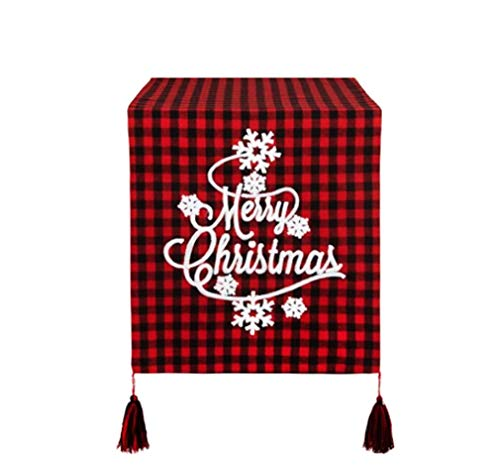 Christmas Table Runner Buffalo Plaid Red Black Merry