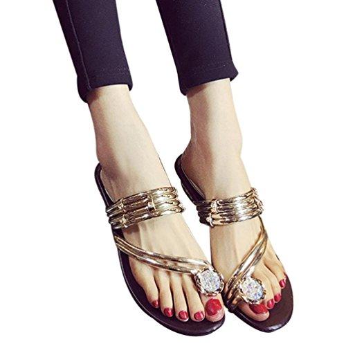Elevin(TM) Womens Summer Faux Rhinestone Flat Heel Open Toe Sandal Slippers Gold 83PWDU2riK