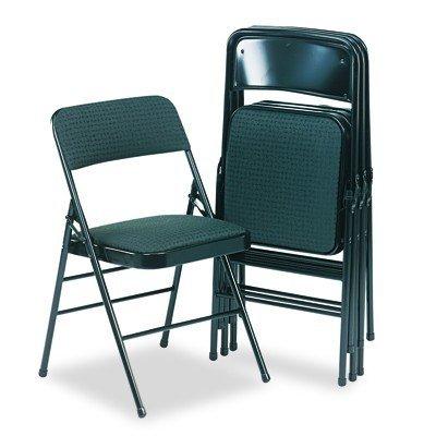 Cosco Fabric Padded Seat - Cosco 36885CVB4 Deluxe Fabric Padded Seat & Back Folding Chairs, Cavallaro Black, 4/Carton