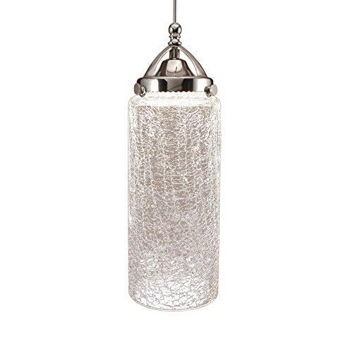 WAC Lighting MP-LED499-CR/CH Madison Early Electric Collection 1-Light LED MonoPoint Pendant with Clear Crackled Art Glass Shade and Chrome Finished Cord Clear Glass Monopoint Pendant