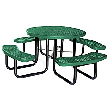 """Lifeyard 3 Pieces Promotion! 46"""" Expanded Metal Round Picnic Table, Green"""