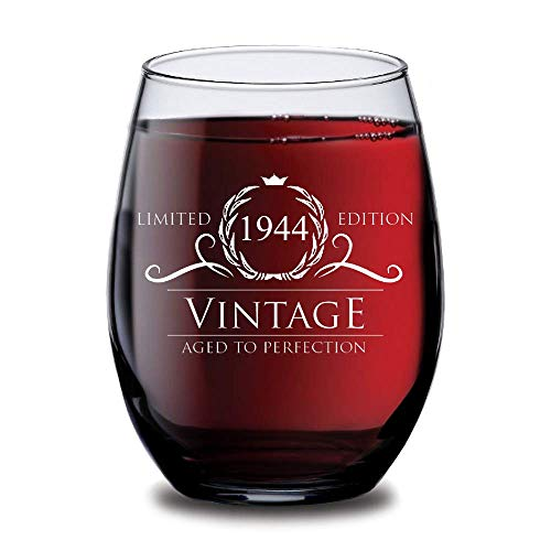 1944 Birthday Gifts for Women and Men Wine Glass - Funny Vintage Silver Anniversary Gift Ideas for Him, Her, Husband or Wife. Cups for Mom and Dad. 15 oz Glasses - Red, White WInes - Decorations
