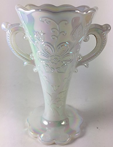 Mary Dugan 2 Handled Vase - Mosser Glass USA (Milk Carnival)