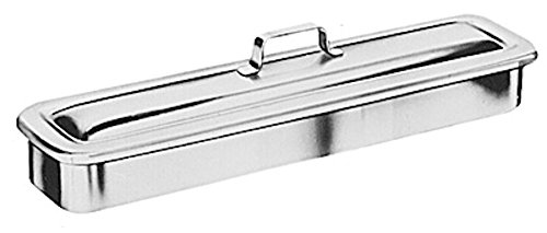 Pivit Antibacterial Stainless Steel Catheter Lab Instrument Tray with Strap Handle and Lid Cover | 8 ½'' x 3'' x 1 ½'' | Autoclavable Medical Grade 18-8 (304) German SS Seamless Polished Metal Finish by pivit