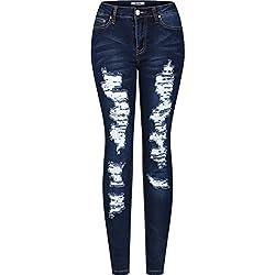 2LUV Women's Stretchy 5 Pocket Destroyed Dark Denim Skinny Jeans Dark Denim 11(UR6058 UR6020-Distressed)
