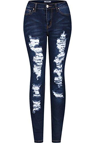 2LUV Women's Stretchy 5 Pocket Destroyed Dark Denim Skinny Jeans Dark Denim 3(UR6058 Or UR6020-Distressed)