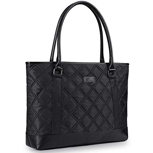 S-ZONE 15.6 inch Laptop Tote Bag for Women Water Resistant Lightweight Nylon Large Computer Work Shoulder Purse (Black)
