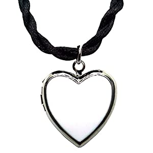 Bijoux De Ja Rhodium Plated Color Enamel Heart Locket Pendant Cord Necklace 18 Inches. (White)