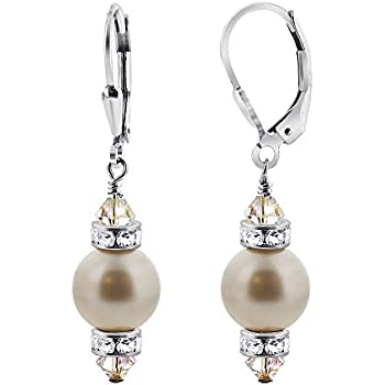 Gem Avenue 925 Sterling Silver Made with Swarovski Elements White Faux Pearl and Crystal Handmade Leverback Drop Earrings