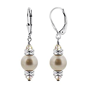SCER155 Silver White Simulated Pearl and Drop Earrings Made with Swarovski Elements