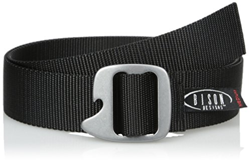 Bison Designs Tap Cap 38mm Belt with Gunmetal Buckle (Black, Max 38-Inch Waist/Medium)