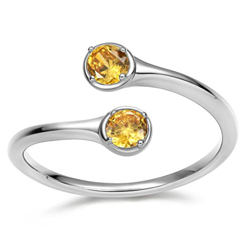 Wrap Adjustable 925 Sterling Silver Citrine Cubic Zirconia November Birthstone Wedding Engagement Ring