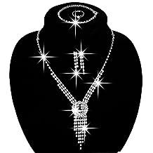 Wedding Bridal Jewelry Sets Rhinestone Austrian Crystal Jewelry Set Bracelet Earrings Pendant Set Vintage Accessories