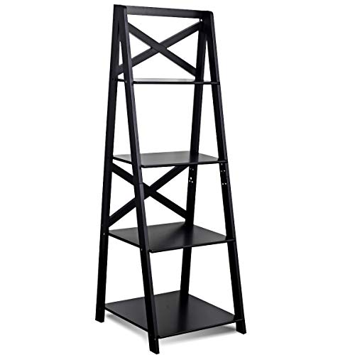 king77777 4-Tier Ladder Space-Saving Bookshelf Modern Furniture Office Living Room Elegant Home Decor Solid and Durable Construction for Books Beautiful Design Wooden