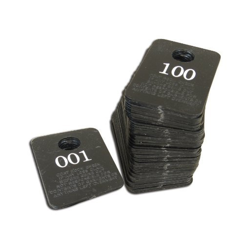 Royal Industries 1 Pack (1-100) Coat Check Tickets, Plastic, 1-1/2' Wide x 2' High, Black