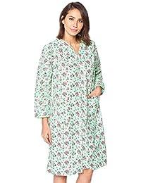 Women s Floral Snap Front Flannel Duster Long Sleeve Lounger Dress fd509d353
