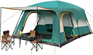 QJTGS Family Two-Bedroom Camping Tent Large Waterproof Pop-up Tent Double-Layer Oversized 5-8 People Thickened