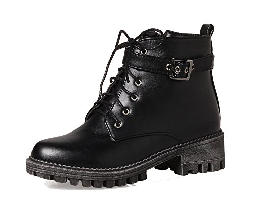 Low AgeeMi EuX81 PU Lace Shoes Black Low Closed Top Heels Up Women's Round Boots Toe xAxUq4