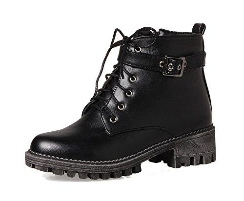 AgeeMi Shoes Mujer Puntera Cerrada Cordones Mini Tacón PU Tacón Grueso Boots EuX81 Negro