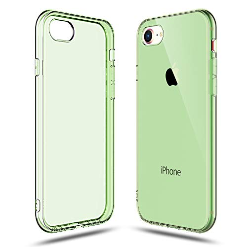 Shamo's Transparent Shock Absorption TPU Rubber Gel Case (Green) Compatible with iPhone 7 and iPhone 8