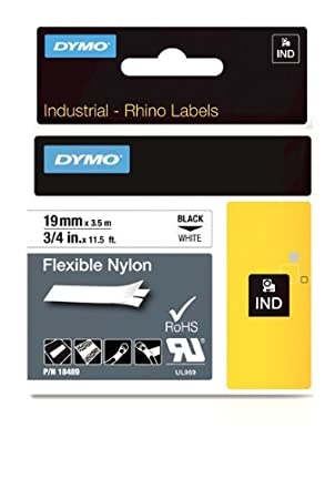 Amazon.com: RhinoPRO adhesiva de nylon Tela de transferencia térmica de etiquetas de cinta de 3/4 pulgadas, casete 11 1/2 pies, blanco (18489): Electronics