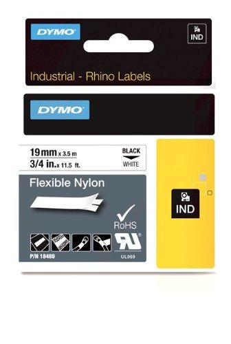 DYMO 3/4 Inch Flexible Industrial Strength Nylon Labels for Rhino 5000 Label Printer, White (Best Portable & Gadgets Label Printers)