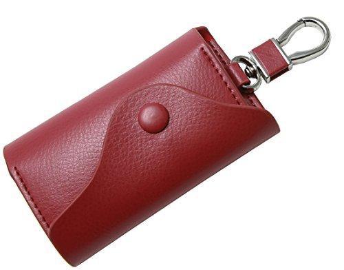 Heshe Fashion Soft Leather Key Case Pure Color 6 Key Holder Keychain Key Ring (Dwine)