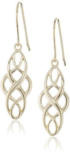18k Yellow Gold Plated Sterling Silver Celtic Knot Dangle Earrings