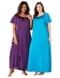 Only Necessities Women's Plus Size Long Tricot Knit 2-Pack Nightgown