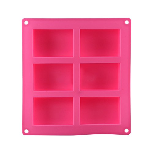 t0uvtrukCs Soap Mold Silicone Craft DIY Cake Making Mould 6-Cavity Plain Rectangle 1 Pc Pink