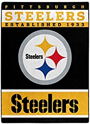 """The Northwest Company Officially LicensedNFL Pittsburgh Steelers 12th Man Plush Raschel Throw Blanket, 60"""""""