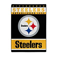 """The Northwest Company Officially Licensed NFL Pittsburgh Steelers 12th Man Plush Raschel Throw Blanket, 60"""" x 80"""", Multi Color"""