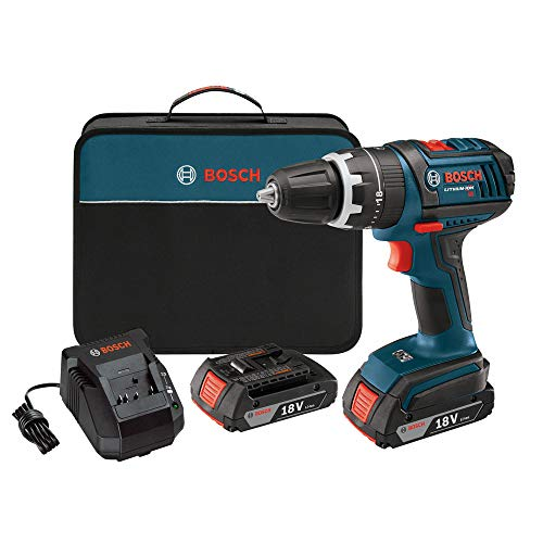 Bosch HDS18102RT 18V Cordless Lithium-Ion Compact Tough 1/2 in. Hammer Drill Driver with 2 Slim Pack HC Batteries (Certified Refurbished)