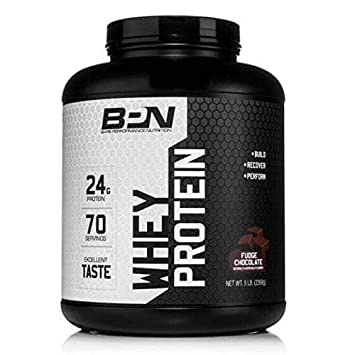 Bare Performance Nutrition Whey Protein Powder 25G of Protein, Excellent Taste Low Carbohydrates 70 Servings, Fudge Chocolate