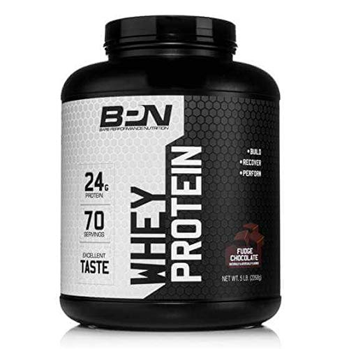 Bare Performance Nutrition, Whey Protein Powder, Meal Replacement, 25G of Protein, Excellent Taste & Low Carbohydrates, 88% Whey Protein & 12% Casein Protein (70 Servings, Fudge Chocolate)