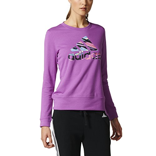- adidas Women's Long-Sleeve Serape Print Badge of Sport Tee, Shock Purple/Multicolor, Small