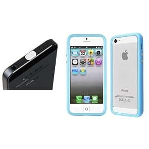 Quaroth CommonByte HQ Light Blue Slim TPU Bumper Frame Case w/Button For iPhone 5+White Dust Cap
