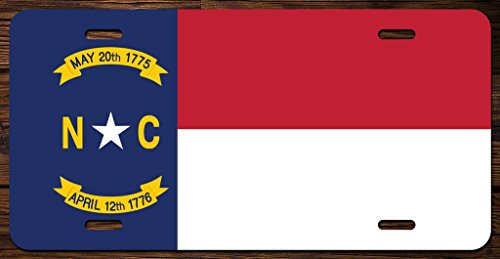 North Carolina State Flag Vanity Front License Plate Tag Printed Full Color KCFP016